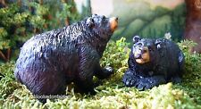 Miniature Fairy Garden Black Bear Laying Stand Set 2 MR 0446 Gnome Hobbit Train
