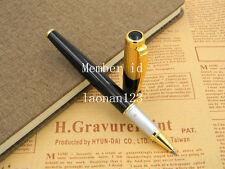 JINHAO 9009 Black Lacquered Golden Trim Sapphire Clip Roller Ball Pen