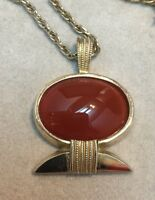 Vintage Gold Tone And Agate Stylised Necklace