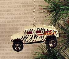 JUNGLE ZEBRA STRIPES HUMMER HUMVEE WHITE BLACK TRUCK CHRISTMAS ORNAMENT XMAS