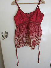 Red & Pink Sleeveless V Neck Cotton Top in Size 16 by New Look with Sequins