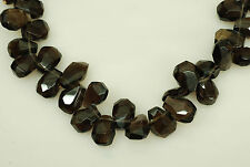 13x16mm Faceted Nugget Shape Smoky Quartz Top Drilled Bead