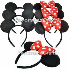 20 Minnie + Mickey Mouse Ears Headbands RED Puffy Black Polka Dot Bows Party