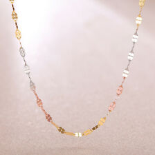 """Pure 18K Multi-tone Gold Necklace Women's Lucky Clover Link Chain Necklace15.7""""L"""