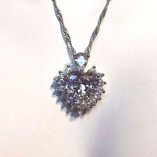 "PE 57 Sim Diamond Heart, Silver (White Gold GF) Pendant + 18"" Chain Plum UK BOXD"