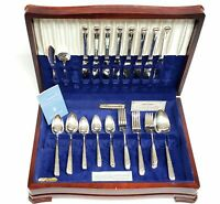 "Oneida Community ""Milady"" Silverplate 52 Pc Flatware Set w/ Case 1940's"