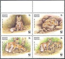 Kyrgyzstan 1999 WWF/Foxes//Animals/Nature/Wildlife/Conservation 4v blk (s466)