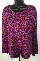 Bob Mackie Wearable Art Blouse Top Pink Purple Geometric Mosaic Slinky Large L