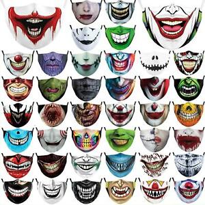 HALLOWEEN JOKER FACE MASK COVERING WASHABLE BREATHABLE FASHION AND FILTER POCKET