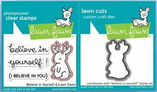 Lawn Fawn Photopolymer Clear Stamp & Die Combo BELIEVE IN YOURSELF ~LF1042,1043