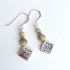 Connemara marble earrings Celtic knot design. Traditional Irish jewelry gift