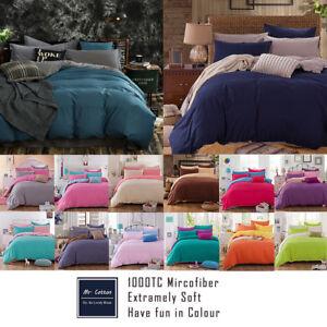 1000TC Microfibre Soft Duvet/Doona/Quilt Cover Set Double/Queen/King/Size Bed f