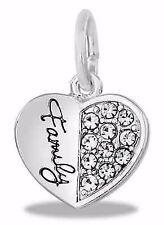 SILVER FAMILY DANGLE EUROPEAN STYLE HEART BRACELET CHARM Pandora Mother's Day