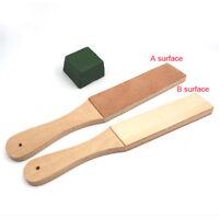Dual Sided Leather Blade Strop Razor Sharpener&Polishing Compounds Set Kit