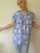 Vintage retro 60s 12 M unused cotton baby doll smock top  blue maternity NWOT