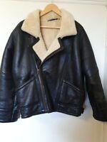 Original Shearling Leather Bomber Jacket Coat Size S M