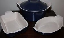 NIB williams sonoma Le Creuset Stoneware 3-p set midnight blue Heritage bakeware