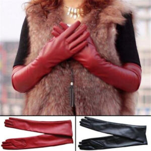 Women Faux Leather Long Gloves Winter Warm Dress Full Finger Elbow Party Gloves