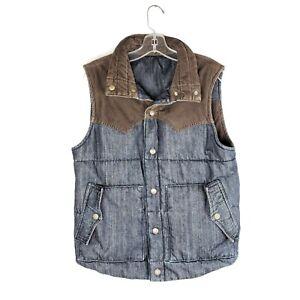 LEVI'S Men's Size M Reversible Blue Denim and Brown Corduroy Puffer Vest
