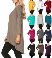 FINAL SALE Women Scoop Neck Long Tunic Top 3/4 Sleeve Hi Low Hem Dress S M L XL