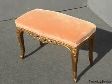 Vintage French Provincial Louis Xv Peach Velvet Bench w Gold Scrolled Base