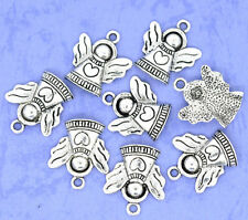 30 Silver Tone Heart&Angel Charms Pendants 21x19mm