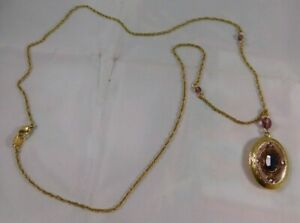 2001-2002 AVON President's Club Purple Stone Gold Locket Pendant Necklace