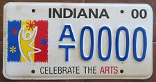 Indiana 2000 CELEBRATE THE ARTS GRAPHIC SAMPLE License Plate NICE # AT0000