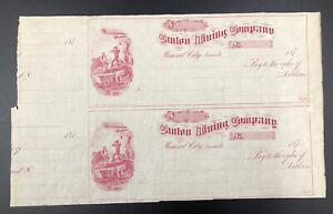1870s US Uncut Remainder Sheet of 2 - Canton Mining Company Mineral City NV