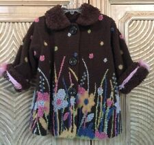 CORKY & COMPANY GIRLS BROWN FLORAL CHENILLE~ SHERPA LIKE JACKET BUTTONS SZ 2T