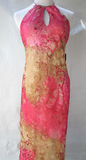 ABS Evening Dress Size 10 Floral Sleeveless Halter Lined Long NWT