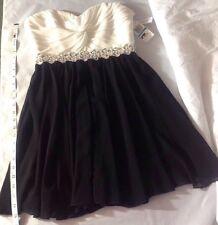 NEW CITY Strapless Dress Size 9 Black Cream Silver Sequin Empire Sheer Drape $78
