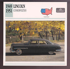 1949-1950 1951 Lincoln Cosmopolitan Car Photo Spec Sheet Info Stat ATLAS CARD
