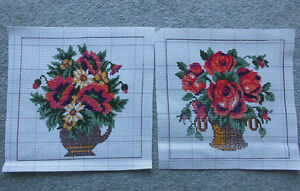 2-er Pack 2 Gobelin Stickbilder  Stickvorlage Stramin Blumenmotiv 25x25 cm  NEU
