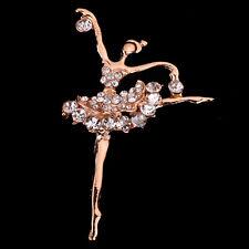 Graceful Jewelry Gold Tone Rhinestone crystal Ballet dancing girl pin Brooch