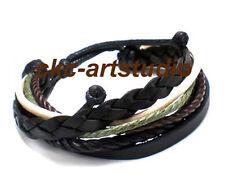 Men Multi Black Leather Surfer Bracelet Wristband RARE