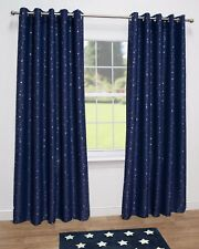 Stars Kids Thermal Blackout Ready Made Eyelet Curtains - Dimout Energy Saving