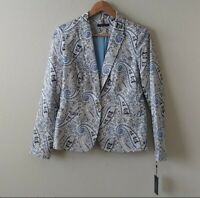 Tommy Hilfiger  Casual Blue Kmu Blazer Jacket One Front Button Size 8 NEW