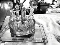 ANTIQUE HAWKES AND BRADBURY BRILLIANT PERIOD CUT GLASS CRUET AND CASTOR SET