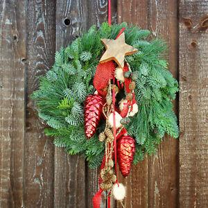 Türkranz Weihnachten Türkränze rot Türdeko Weihnachtsdekoration Wandkranz natur