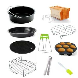 5/10pcs Air Fryer Accessories Chips Baking Basket Frying Tray Pizza Pan Kitchen