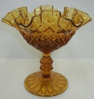 """Fenton Olde Virginia Glass 6"""" Amber Ruffled Pedestal Compote Candy Dish"""