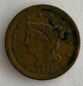 1855 US Braided Hair Half Cent Coin