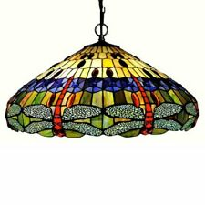 "Scarlet Tiffany-Style 3 Light Dragonfly Inverted Ceiling Pendant 24"" Shade"