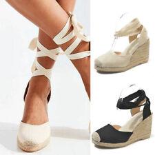 Women Lace Up High Wedge Heel Espadrilles Sandals Platform Summer Beach Shoes