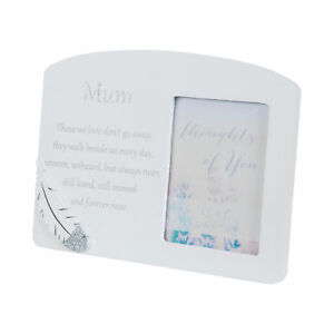 Memorial Photo Frame with a Loving Message and Feather Attachment - Mum