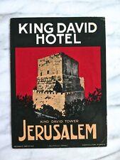 RARE KING DAVID HOTEL, JERUSALEM...ORIGINAL RICHTER LUGGAGE LABEL