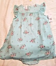 Little Wonders Girls' 12 Months Dress Mint Green Floral 2pc Cap Sleeve Lined NWT