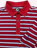 FJ FootJoy The Woodlands CC Men's XL Athletic Fit Golf Polo Shirt Striped S/S