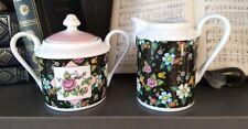 Mary Engelbreit Black Chintz Floral Sugar Bowl and Creamer Ceramic Set 2002